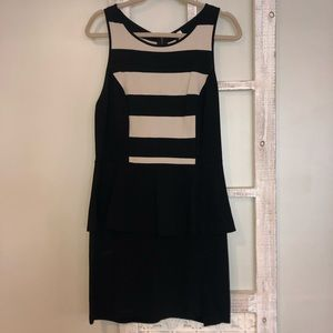 Black and Cream Striped Dress with a Ruffle!